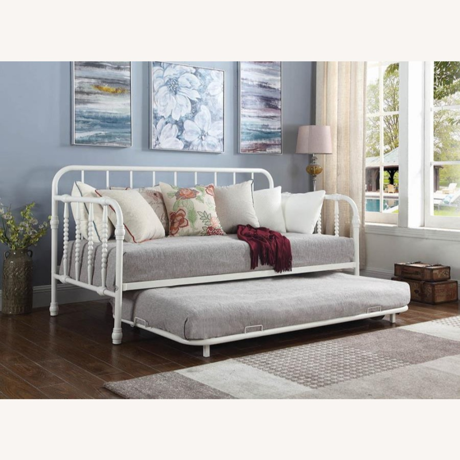 Twin Daybed W/ Trundle In White Steel Tubing - image-2