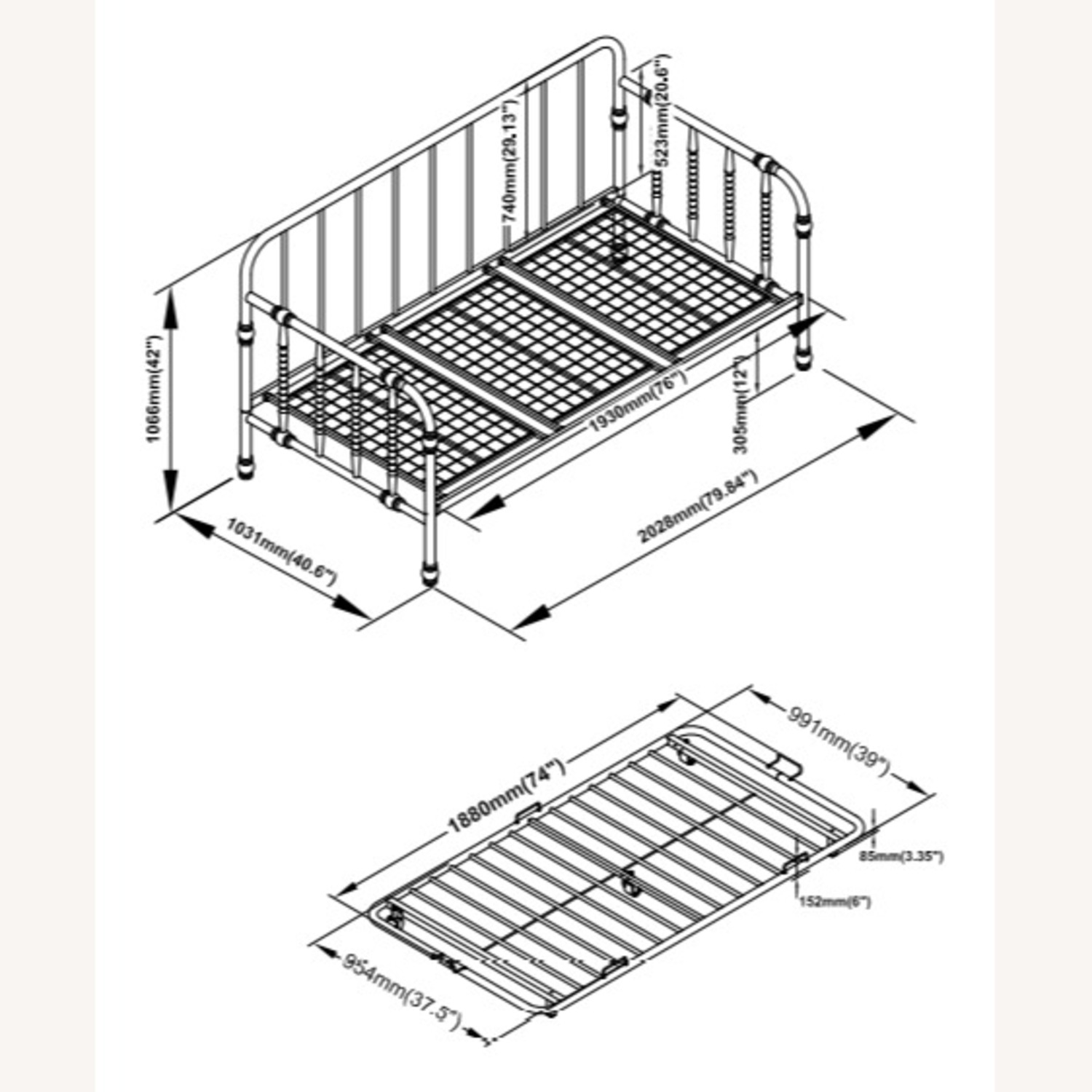 Twin Daybed W/ Trundle In White Steel Tubing - image-3