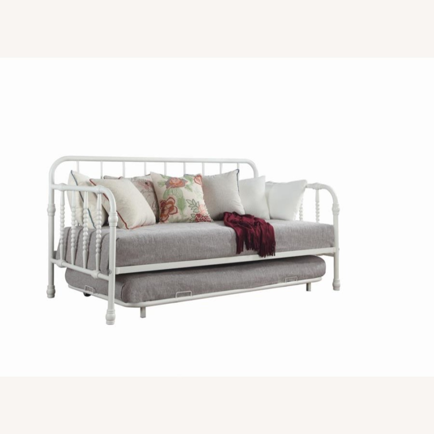 Twin Daybed W/ Trundle In White Steel Tubing - image-0