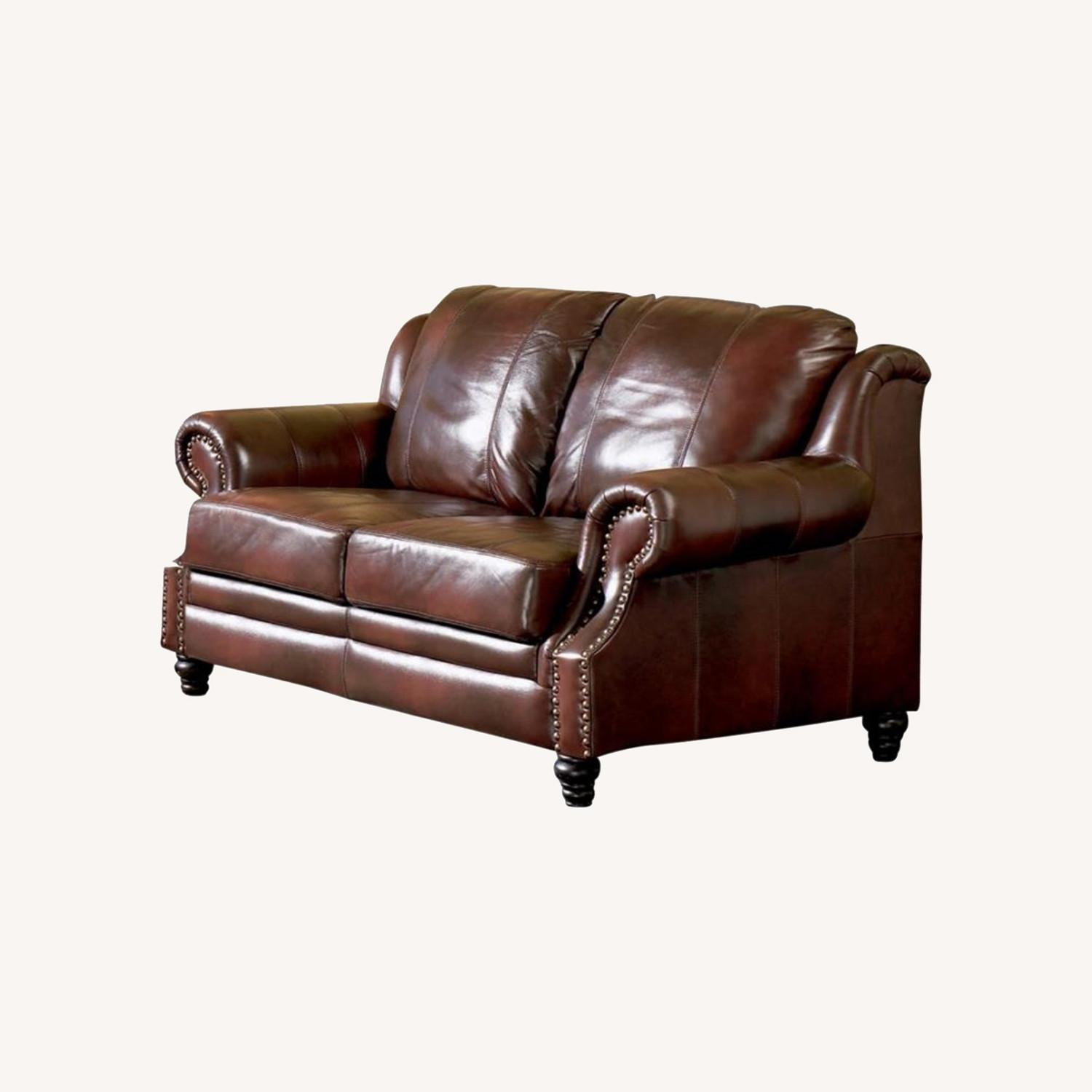 Loveseat In Burgundy Hand Rubbed Leather - image-5