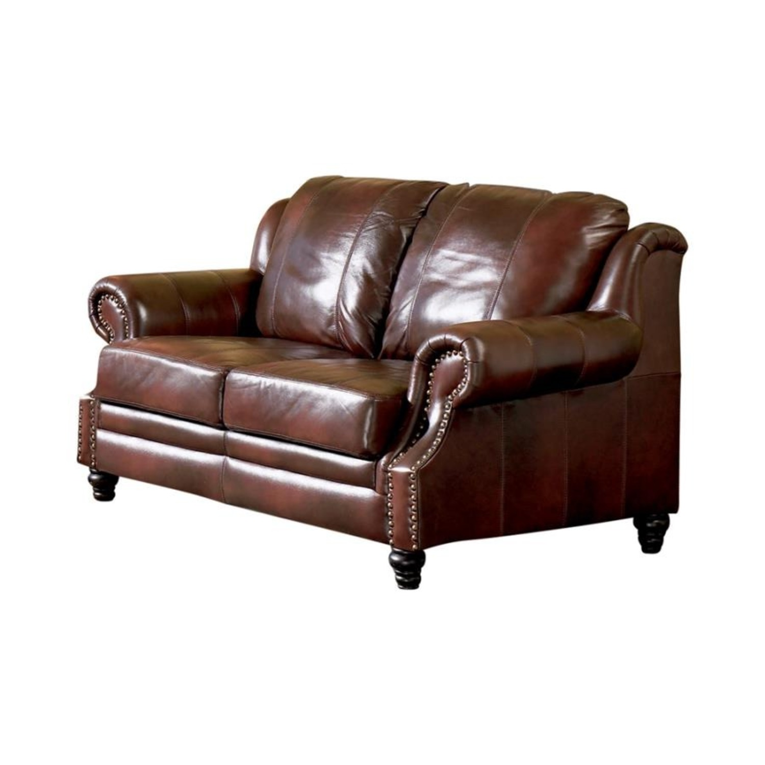Loveseat In Burgundy Hand Rubbed Leather - image-0