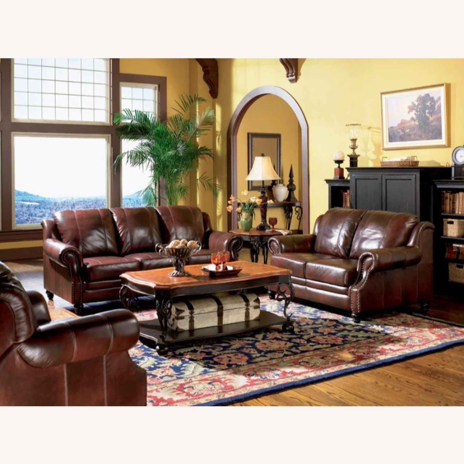 Loveseat In Burgundy Hand Rubbed Leather - image-4