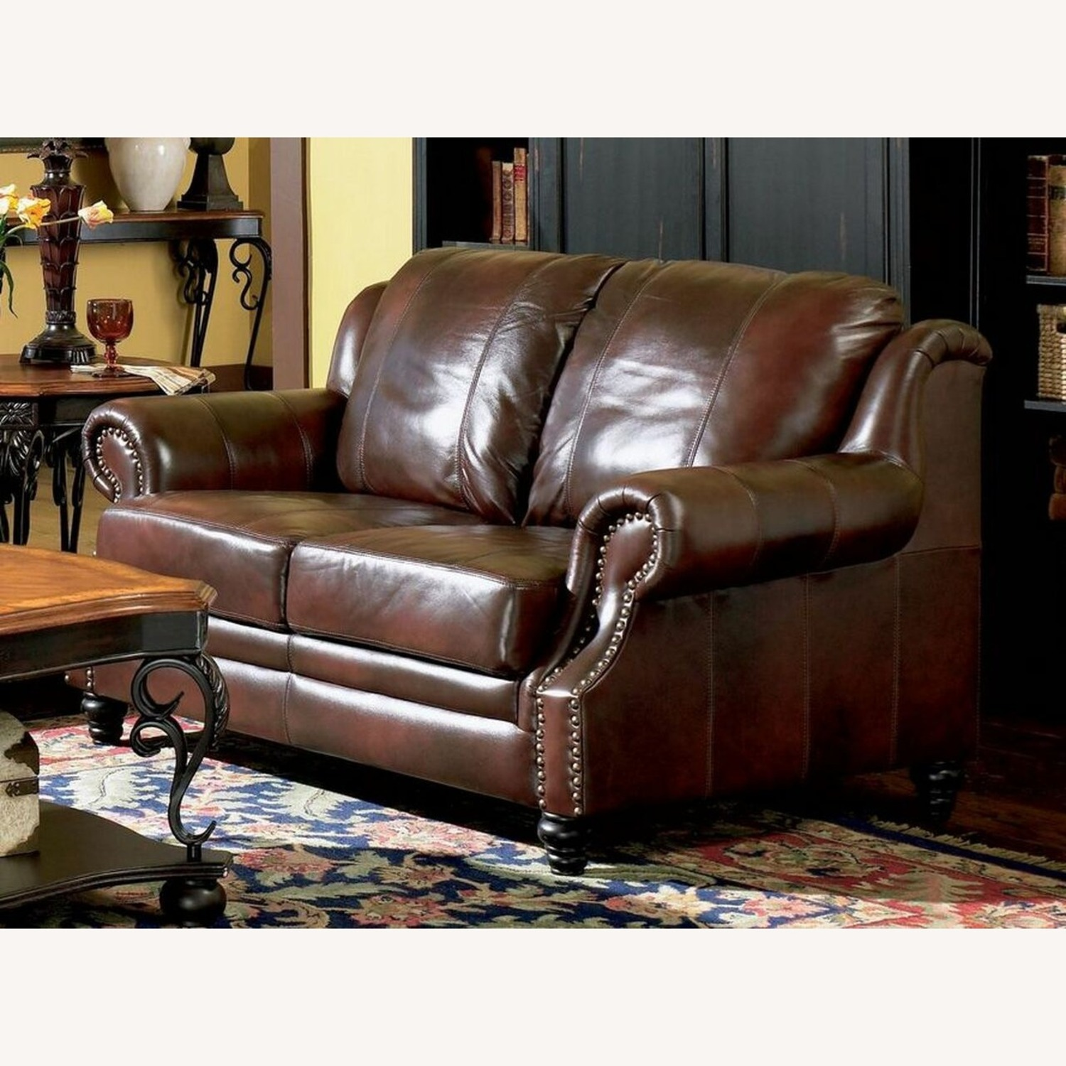 Loveseat In Burgundy Hand Rubbed Leather - image-2