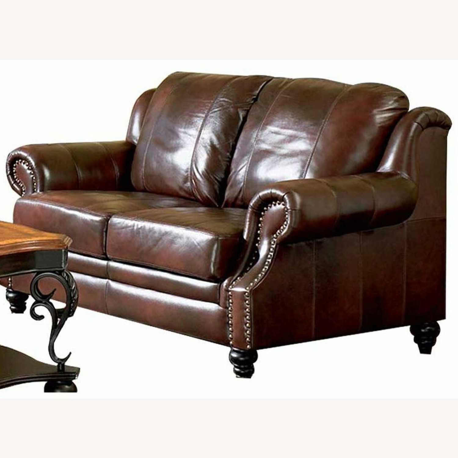 Loveseat In Burgundy Hand Rubbed Leather - image-1