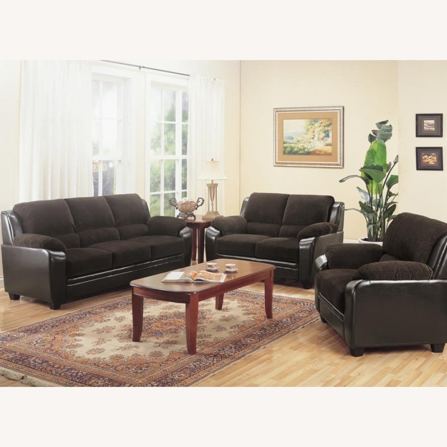 Loveseat In Rich Chocolate Leatherette - image-3
