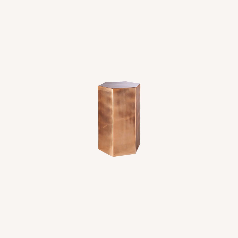 CB2 Bronze Hexagonal Side Table - image-0