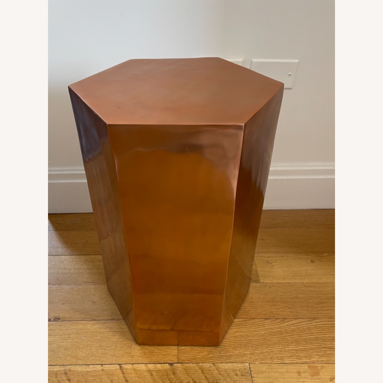 CB2 Bronze Hexagonal Side Table - image-2