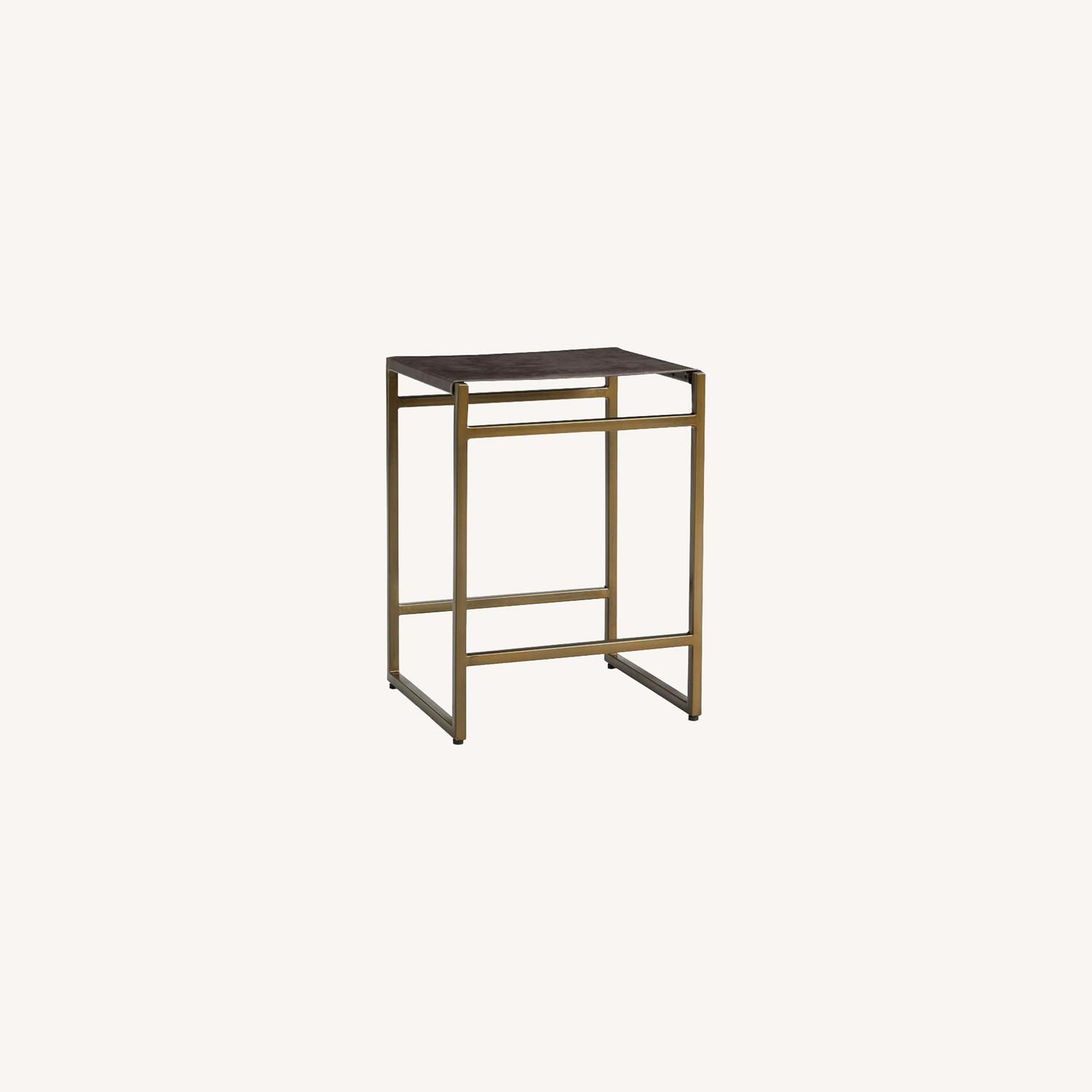 Pottery Barn Hardy Backless Leather Counter Stool - image-0