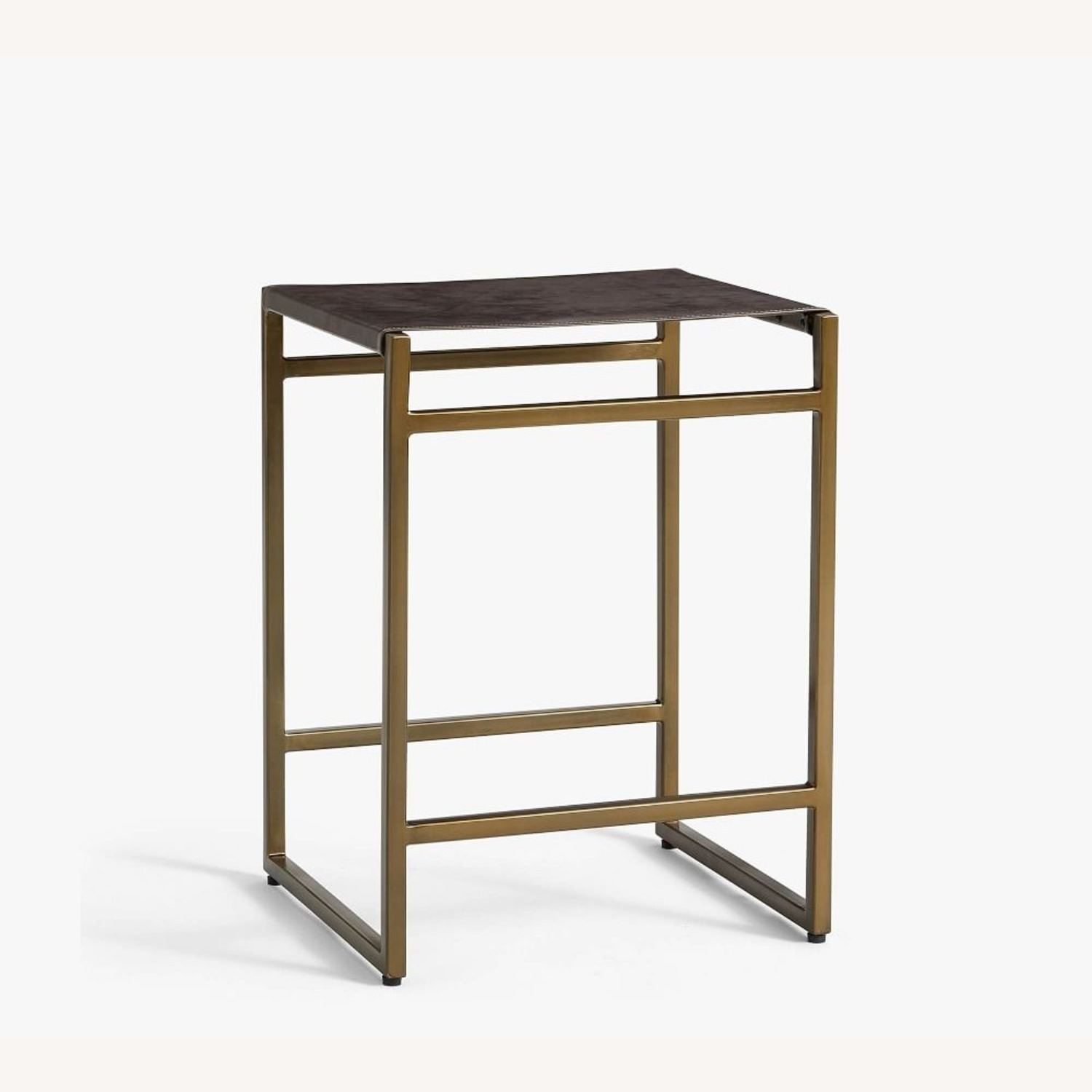 Pottery Barn Hardy Backless Leather Counter Stool - image-1