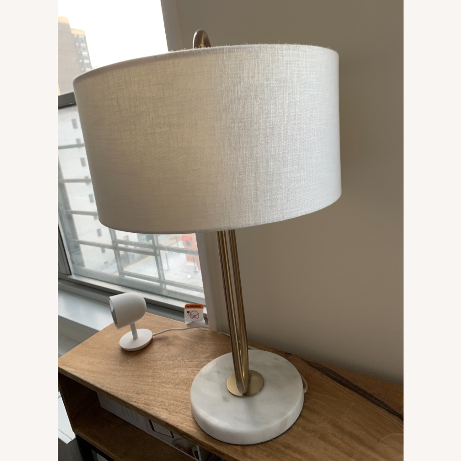 CB2 Warner Brass Marble Table Lamp - image-3