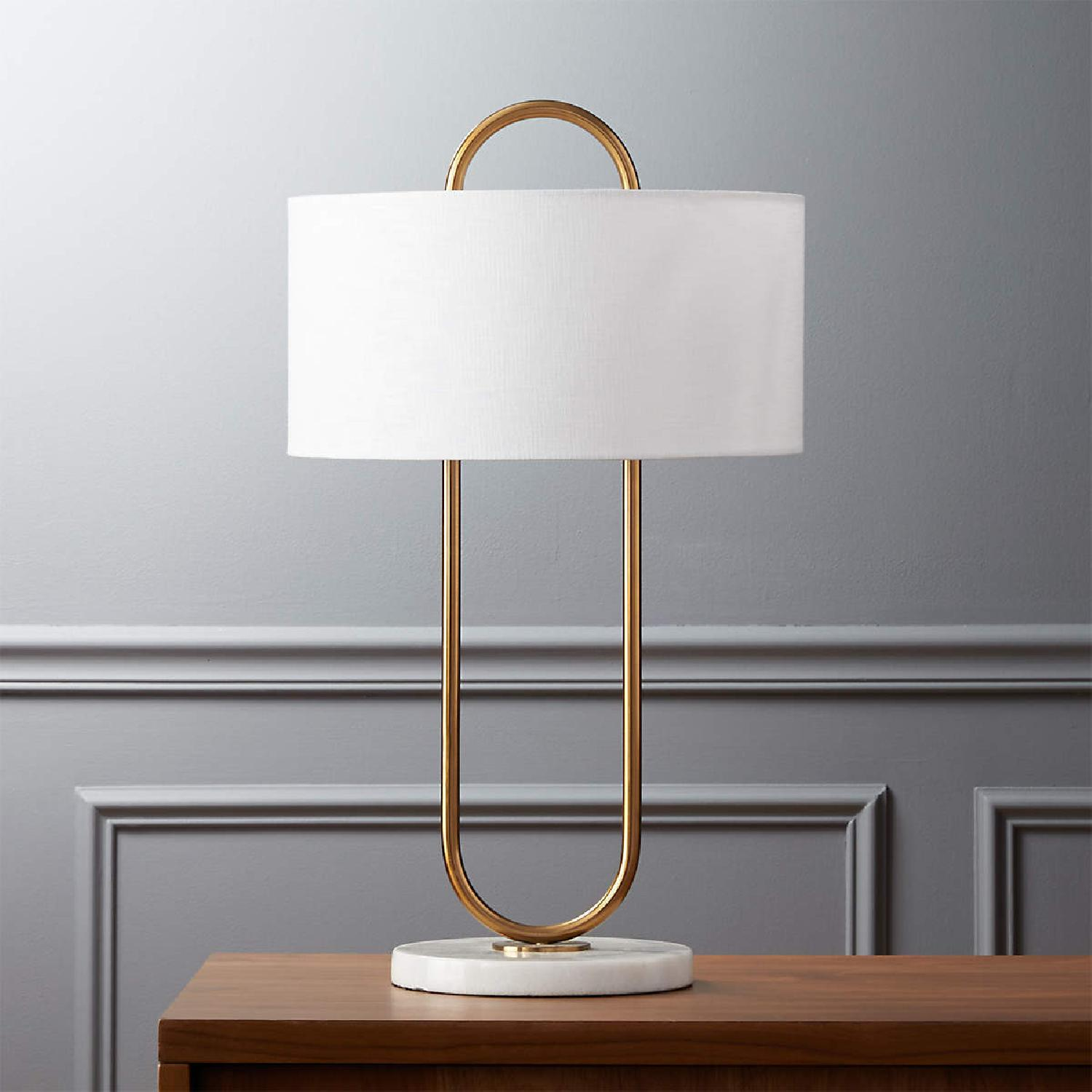 CB2 Warner Brass Marble Table Lamp - image-7