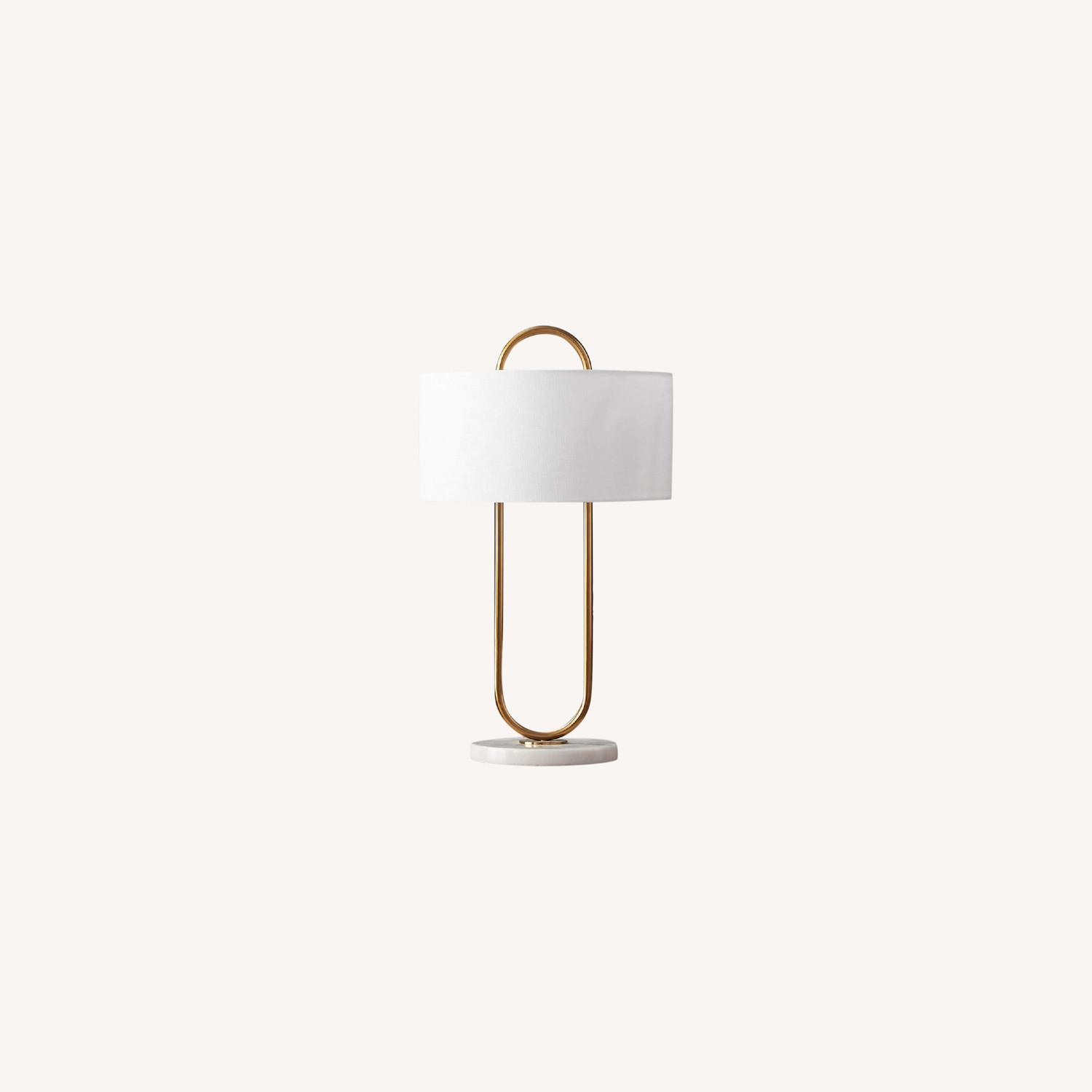 CB2 Warner Brass Marble Table Lamp - image-0
