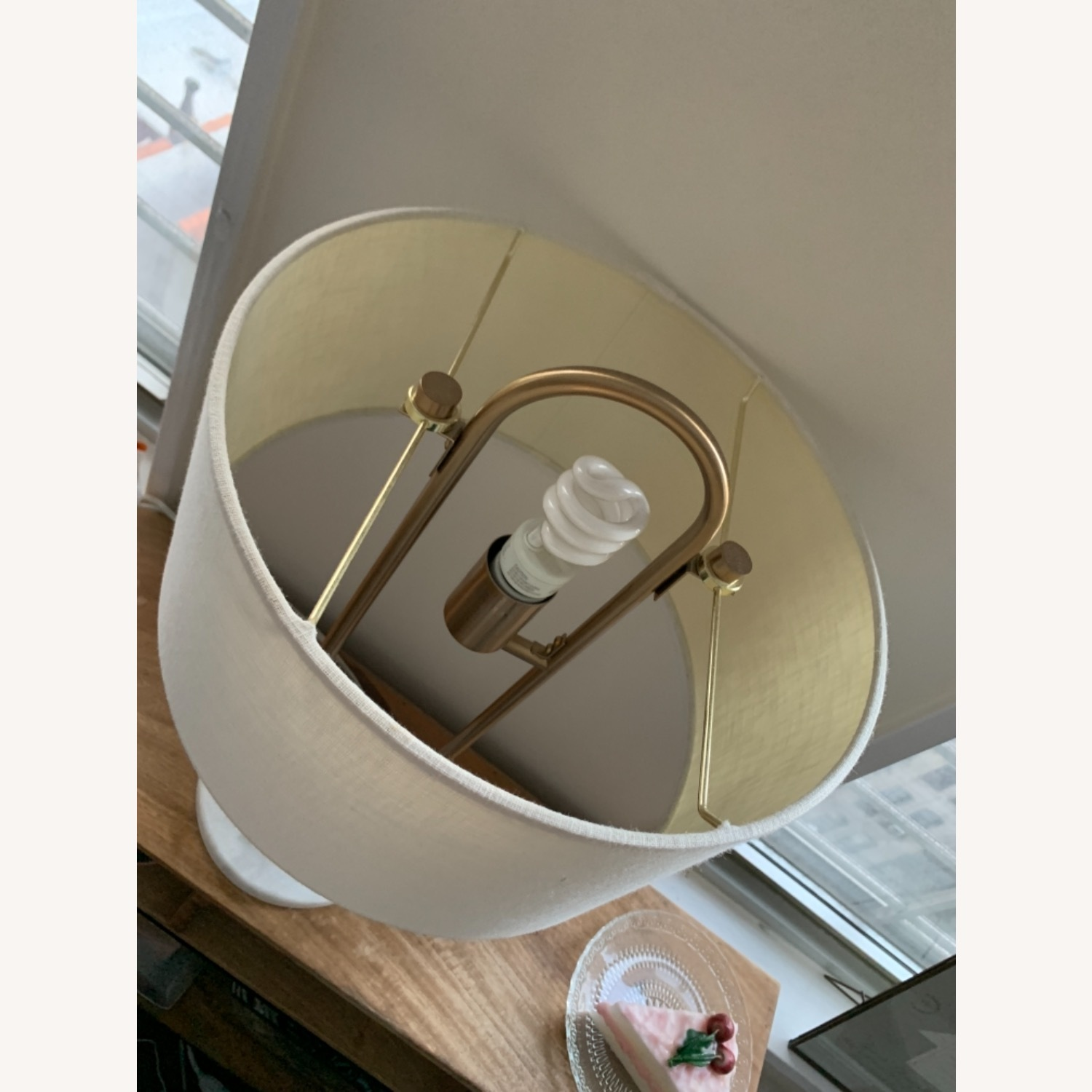 CB2 Warner Brass Marble Table Lamp - image-5
