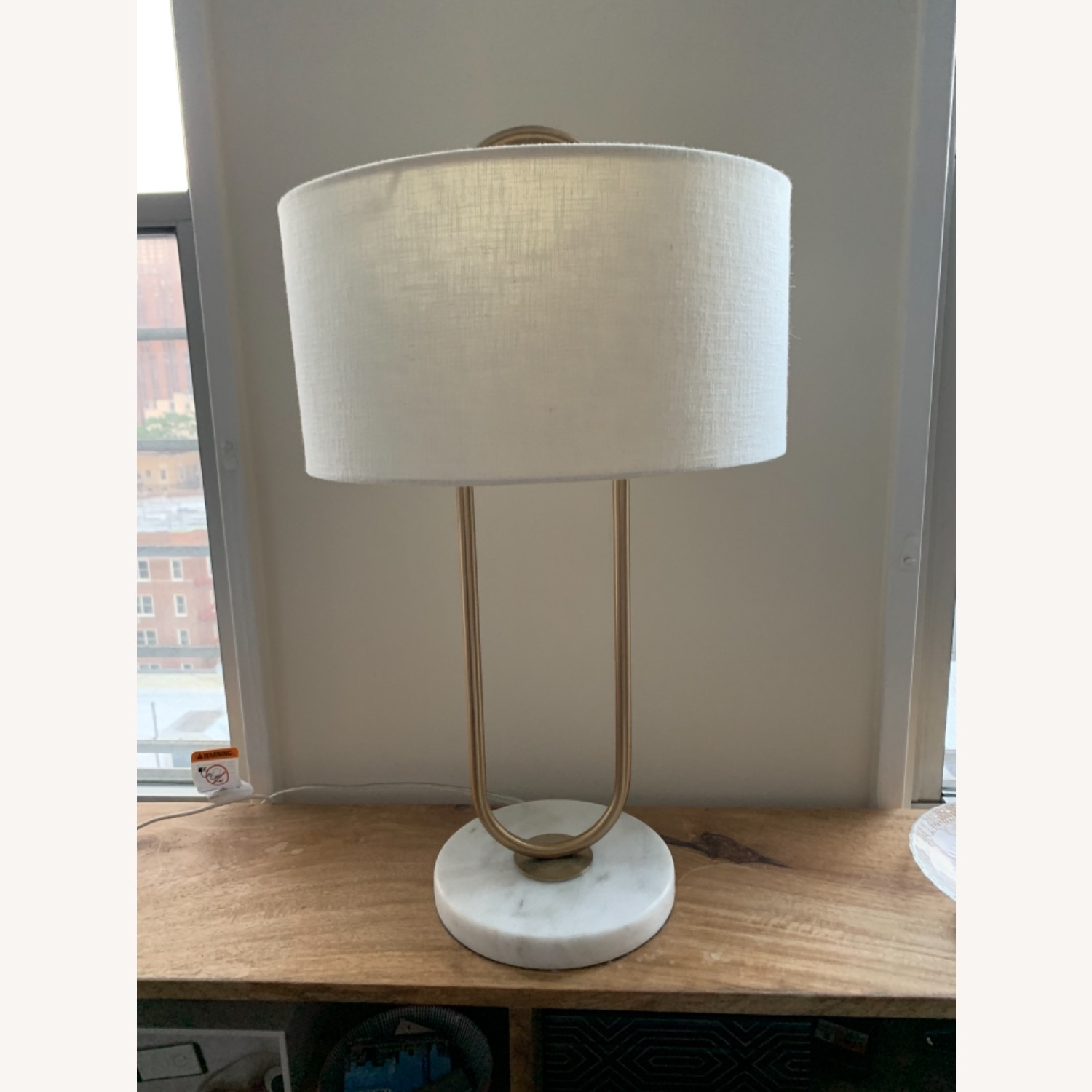 CB2 Warner Brass Marble Table Lamp - image-1