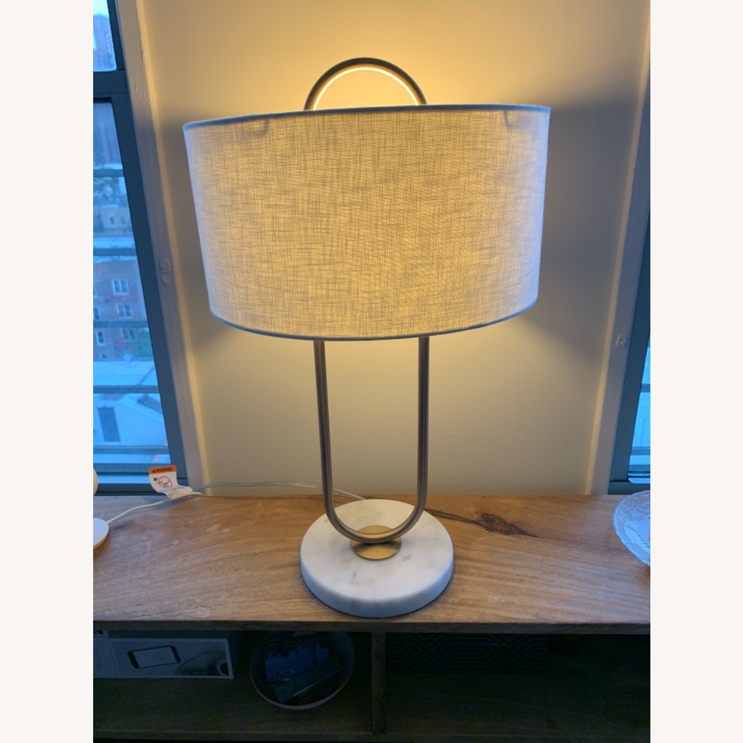 CB2 Warner Brass Marble Table Lamp - image-2