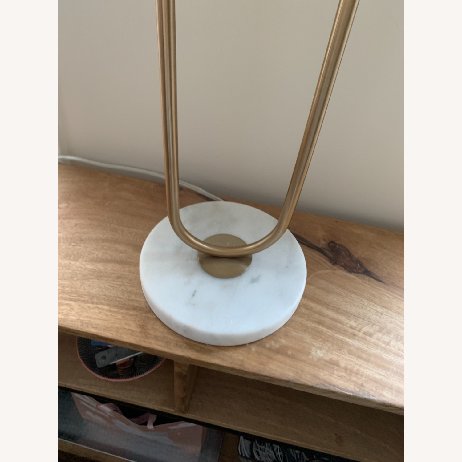 CB2 Warner Brass Marble Table Lamp - image-4
