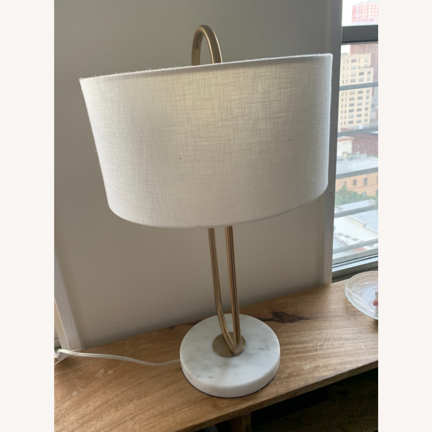 CB2 Warner Brass Marble Table Lamp - image-6