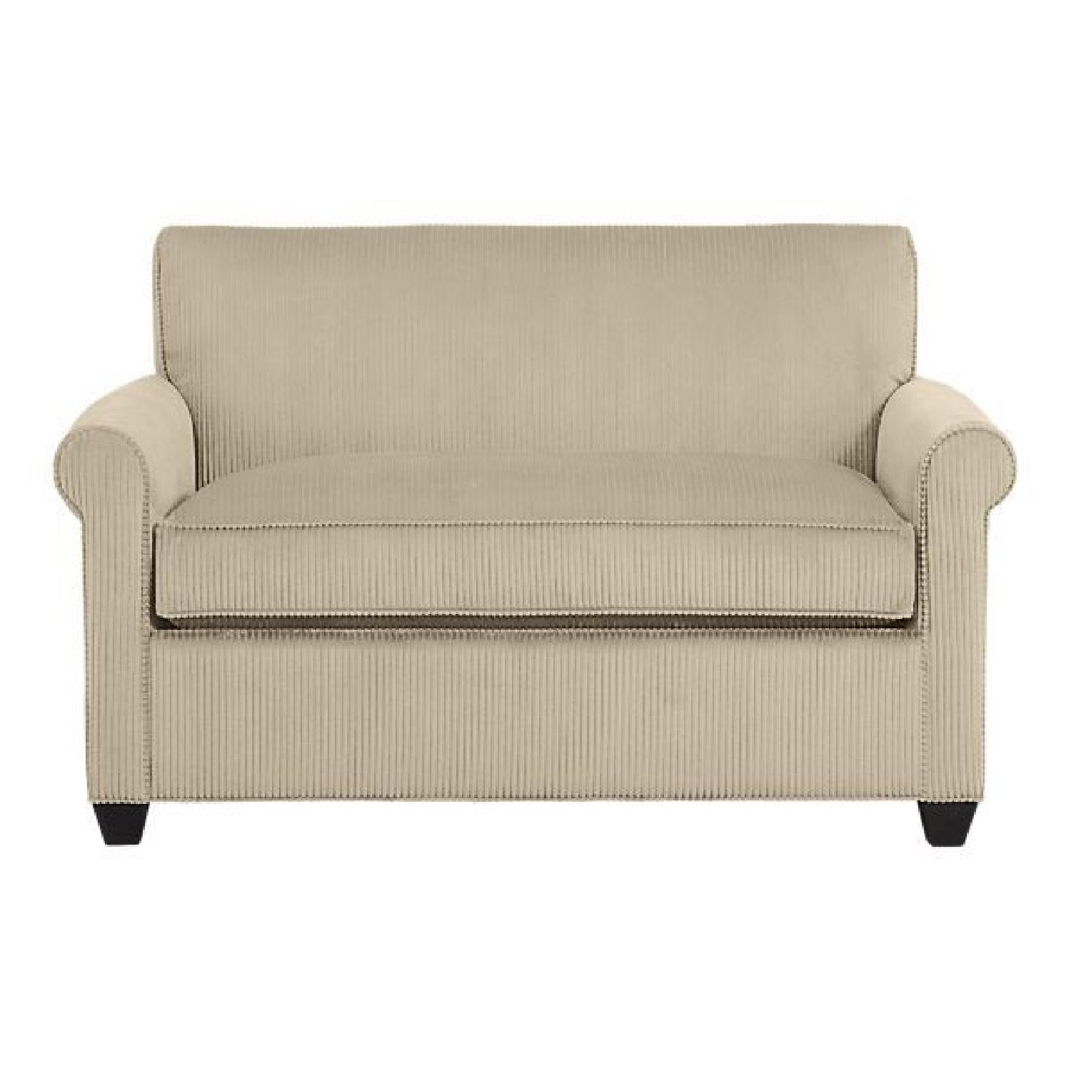 Crate & Barrel Oxford Loveseat w/ Twin Bed Pull Out - image-4