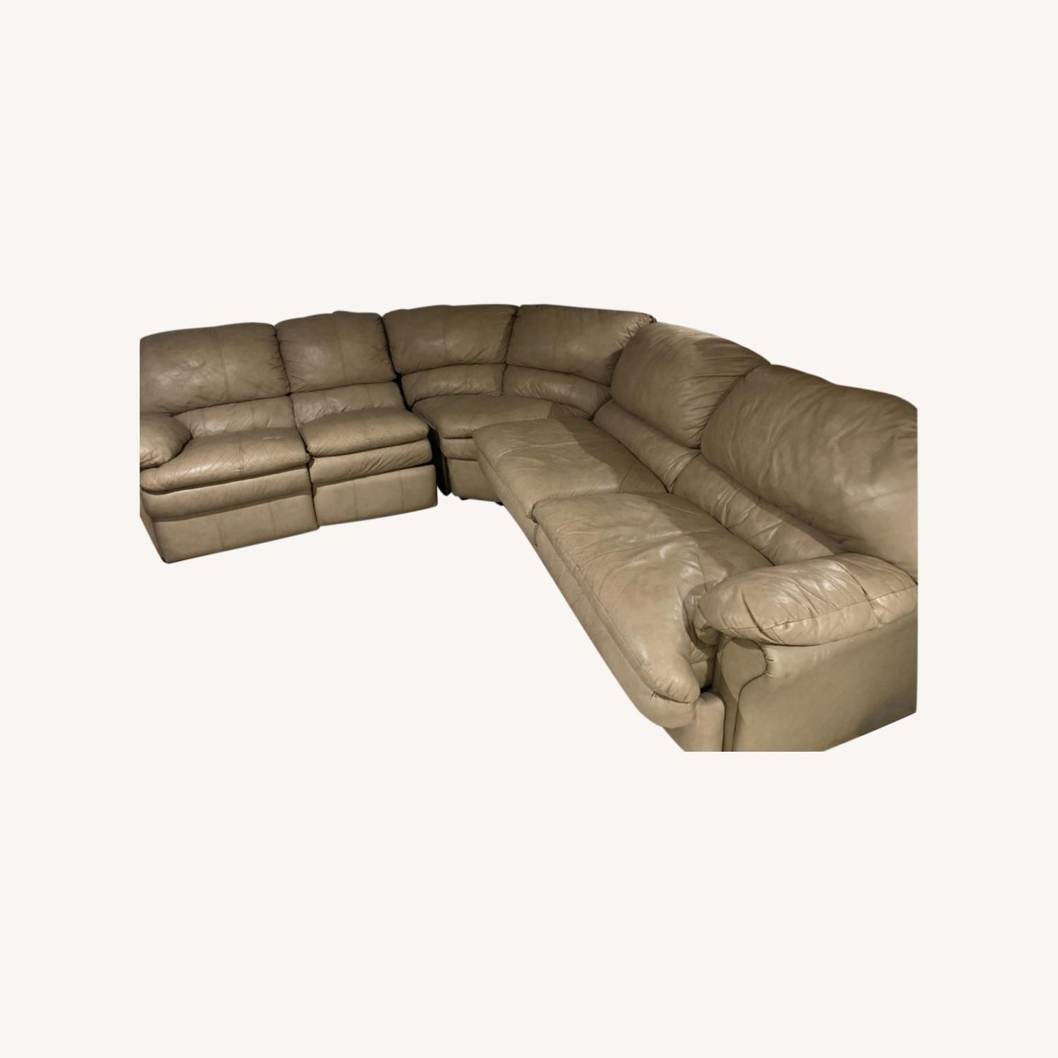 Leather Beige Couch - image-0