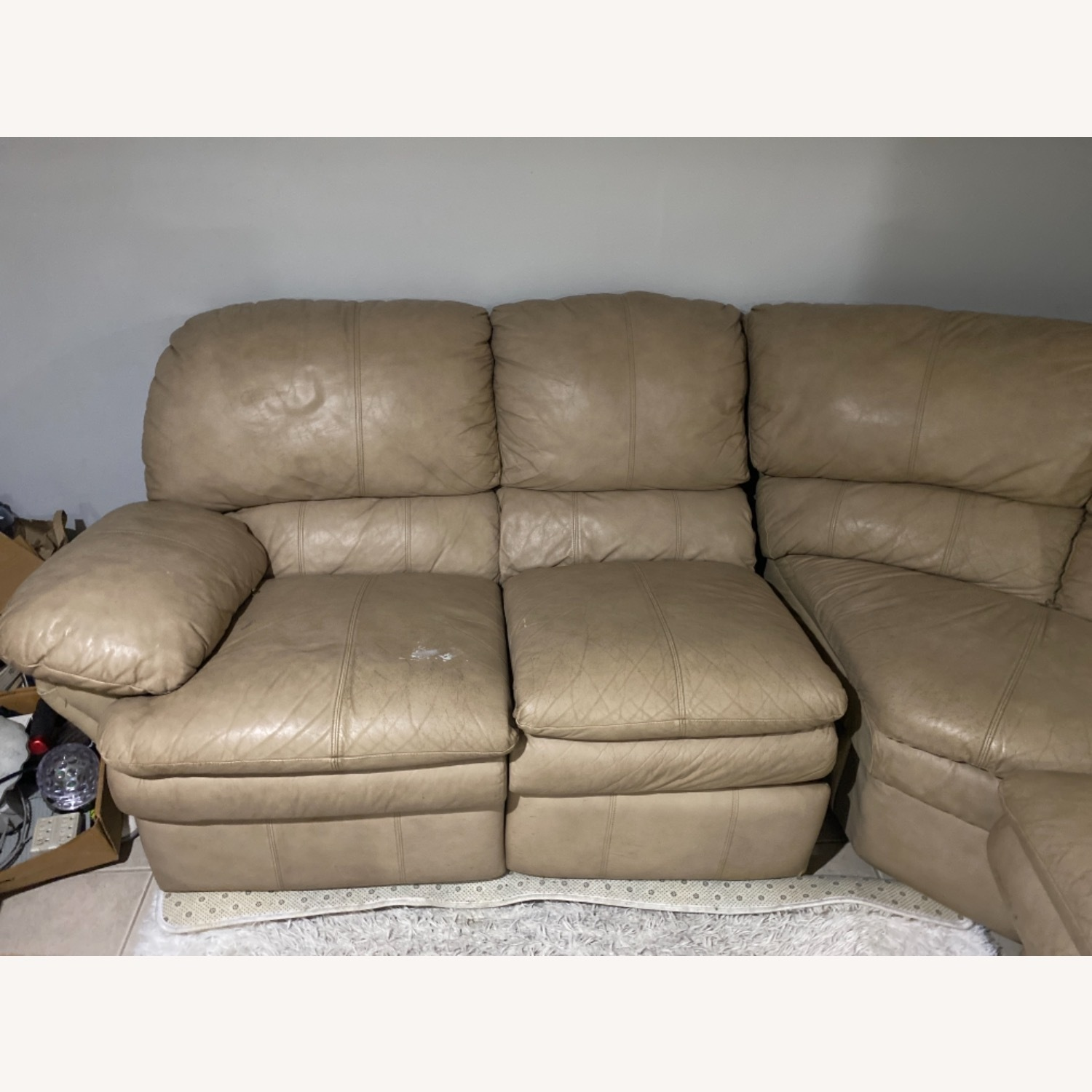 Leather Beige Couch - image-2