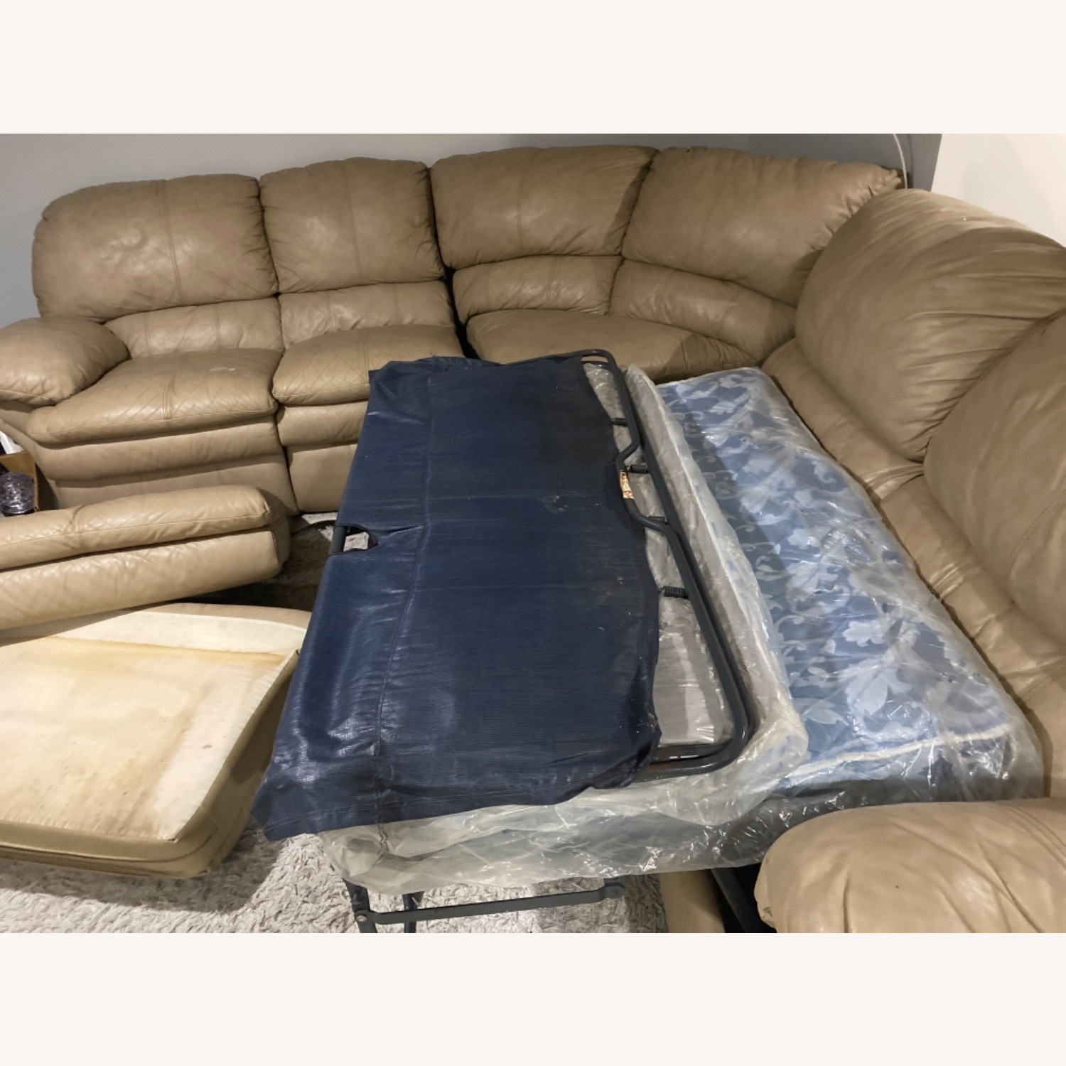 Leather Beige Couch - image-5