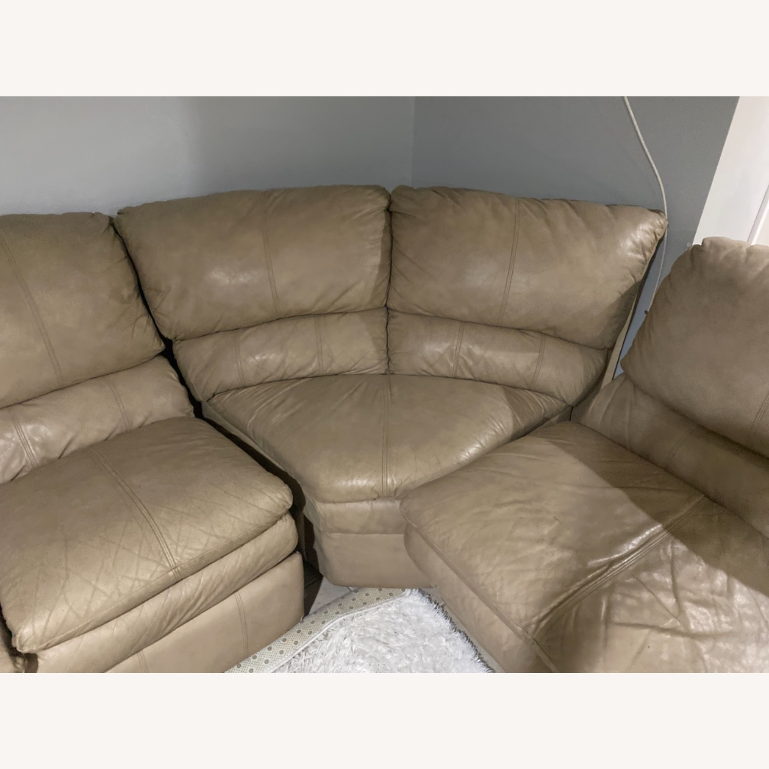Leather Beige Couch - image-3