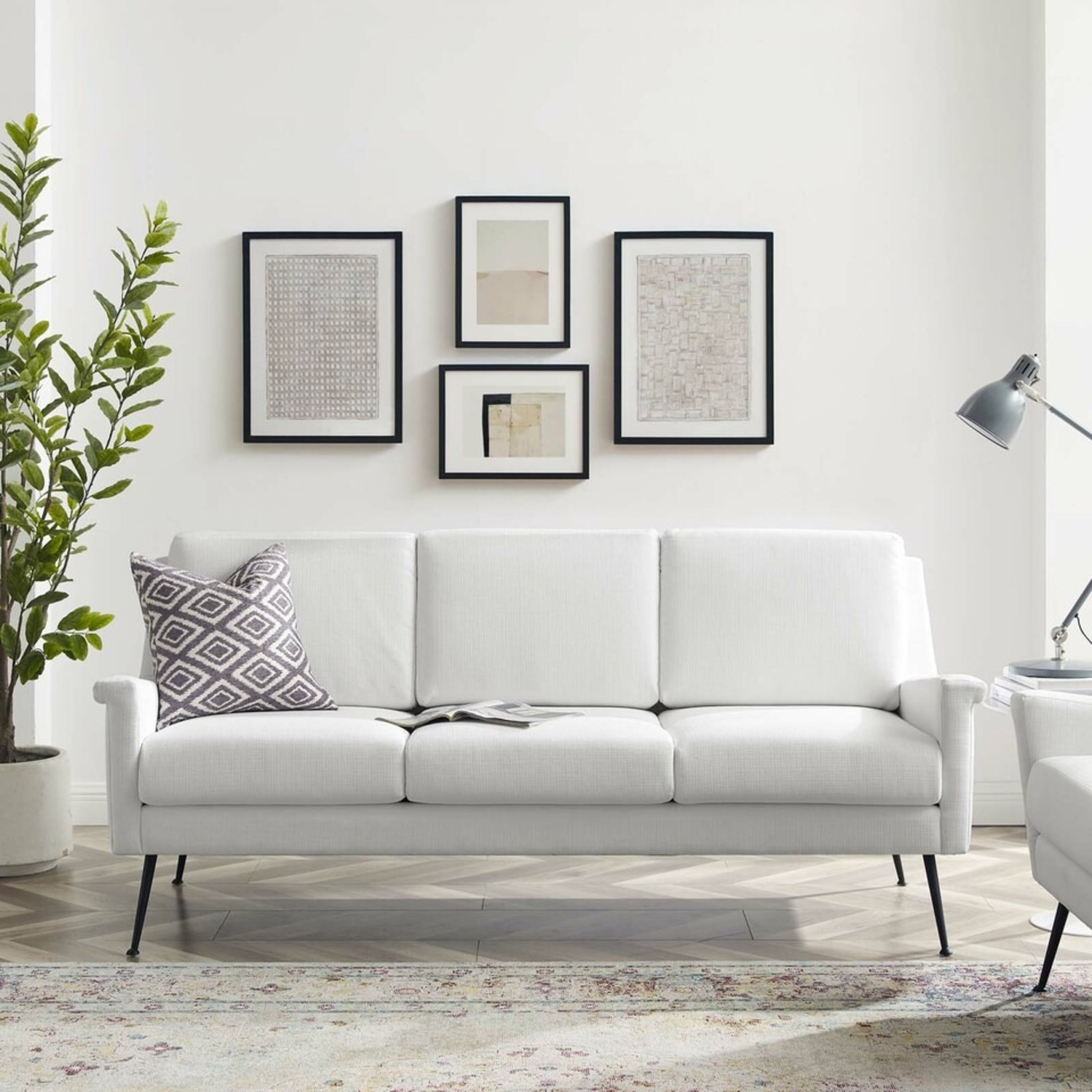 Retro Style Sofa In White Polyester Fabric - image-6