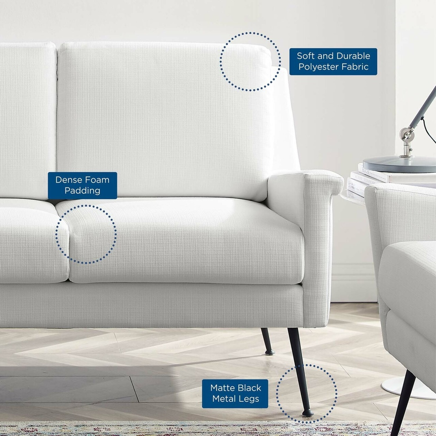 Retro Style Sofa In White Polyester Fabric - image-5