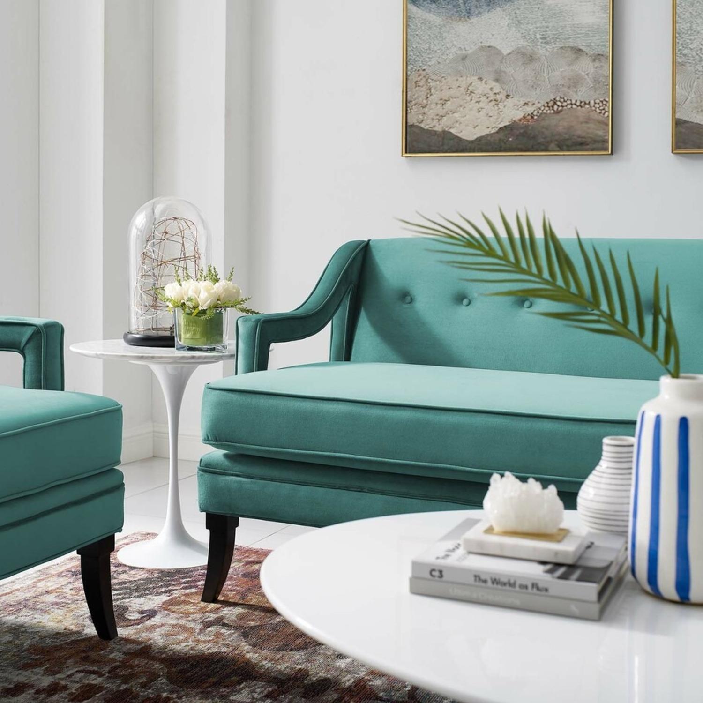 Mid-Century Style Sofa In Teal Velvet - image-5