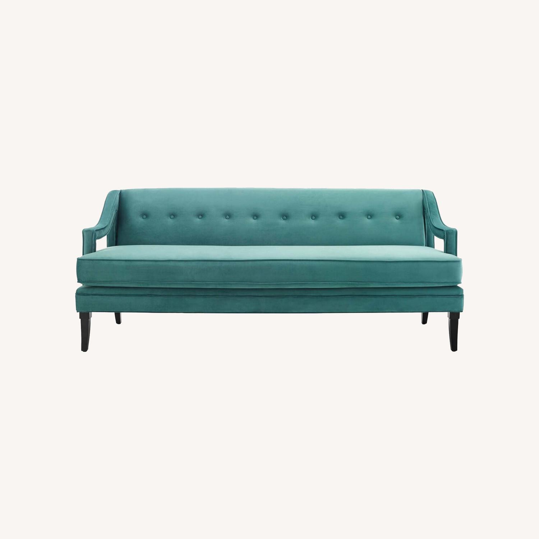 Mid-Century Style Sofa In Teal Velvet - image-7