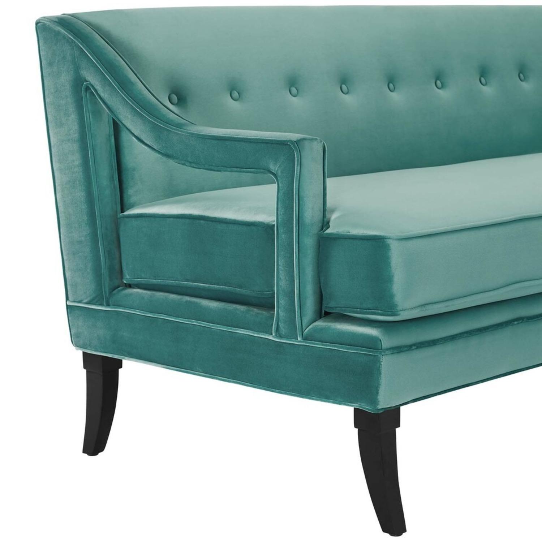 Mid-Century Style Sofa In Teal Velvet - image-3