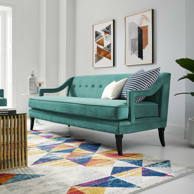 Mid-Century Style Sofa In Teal Velvet - image-6