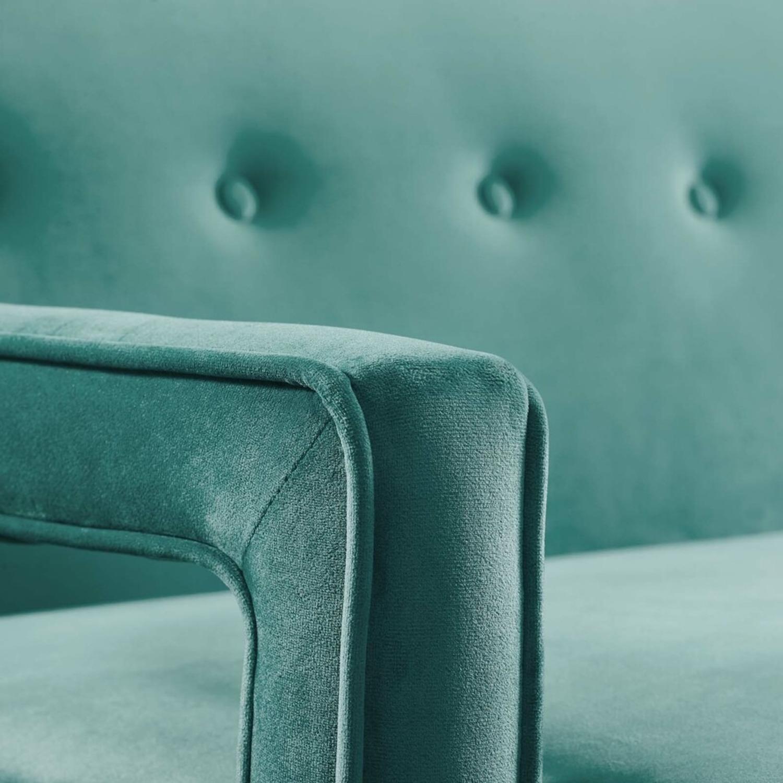 Mid-Century Style Sofa In Teal Velvet - image-4