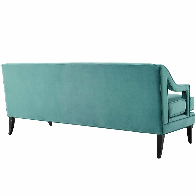 Mid-Century Style Sofa In Teal Velvet - image-2