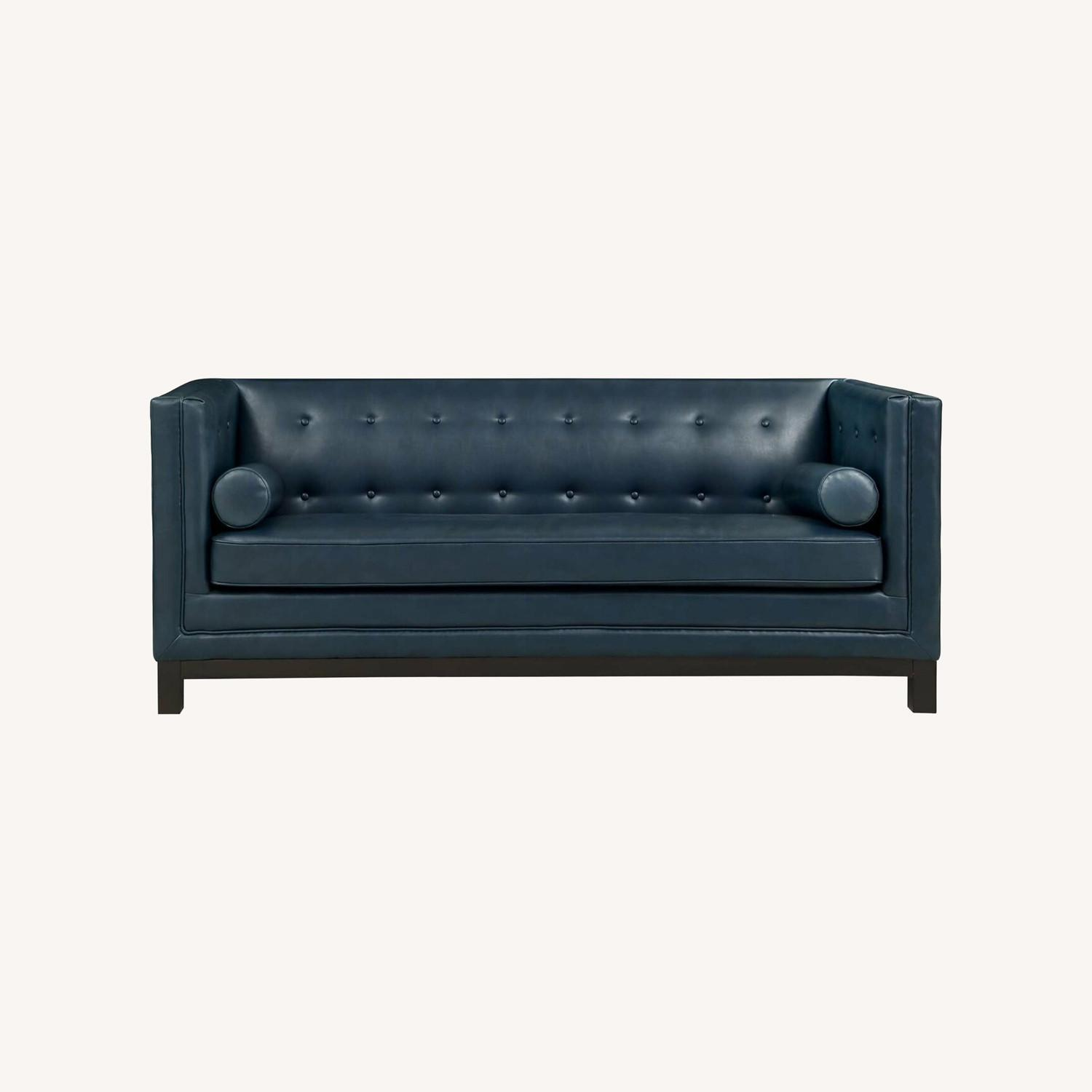 Modern Style Sofa In Blue Bonded Leather - image-5