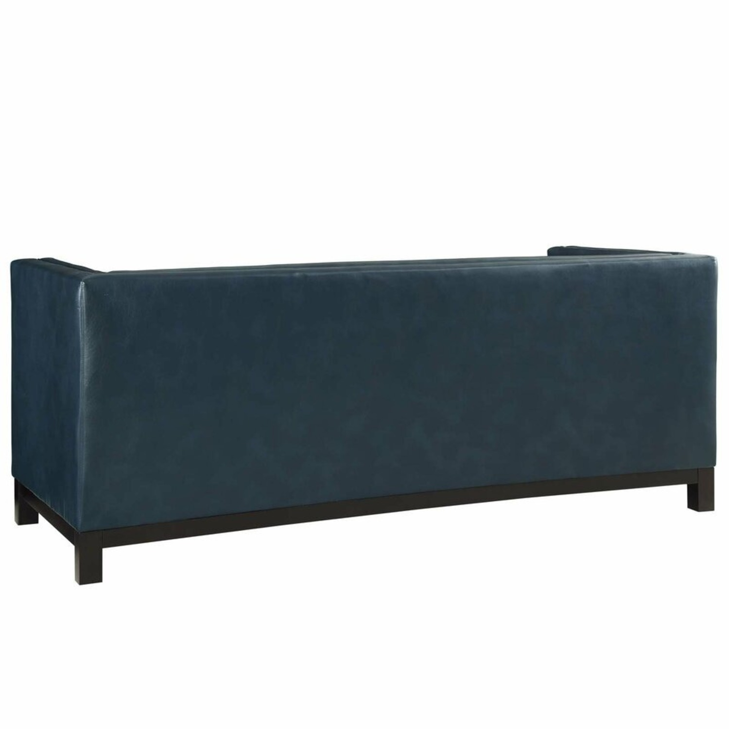 Modern Style Sofa In Blue Bonded Leather - image-2