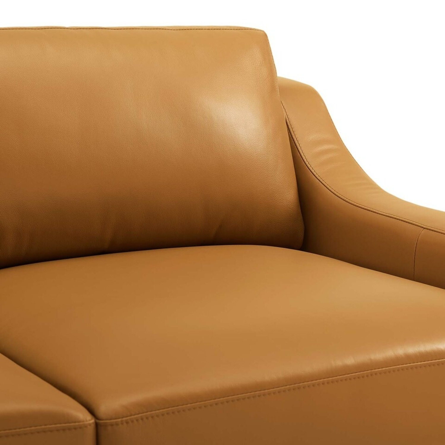 Sofa In Tan Leather Upholstery W/ Steel Base - image-4