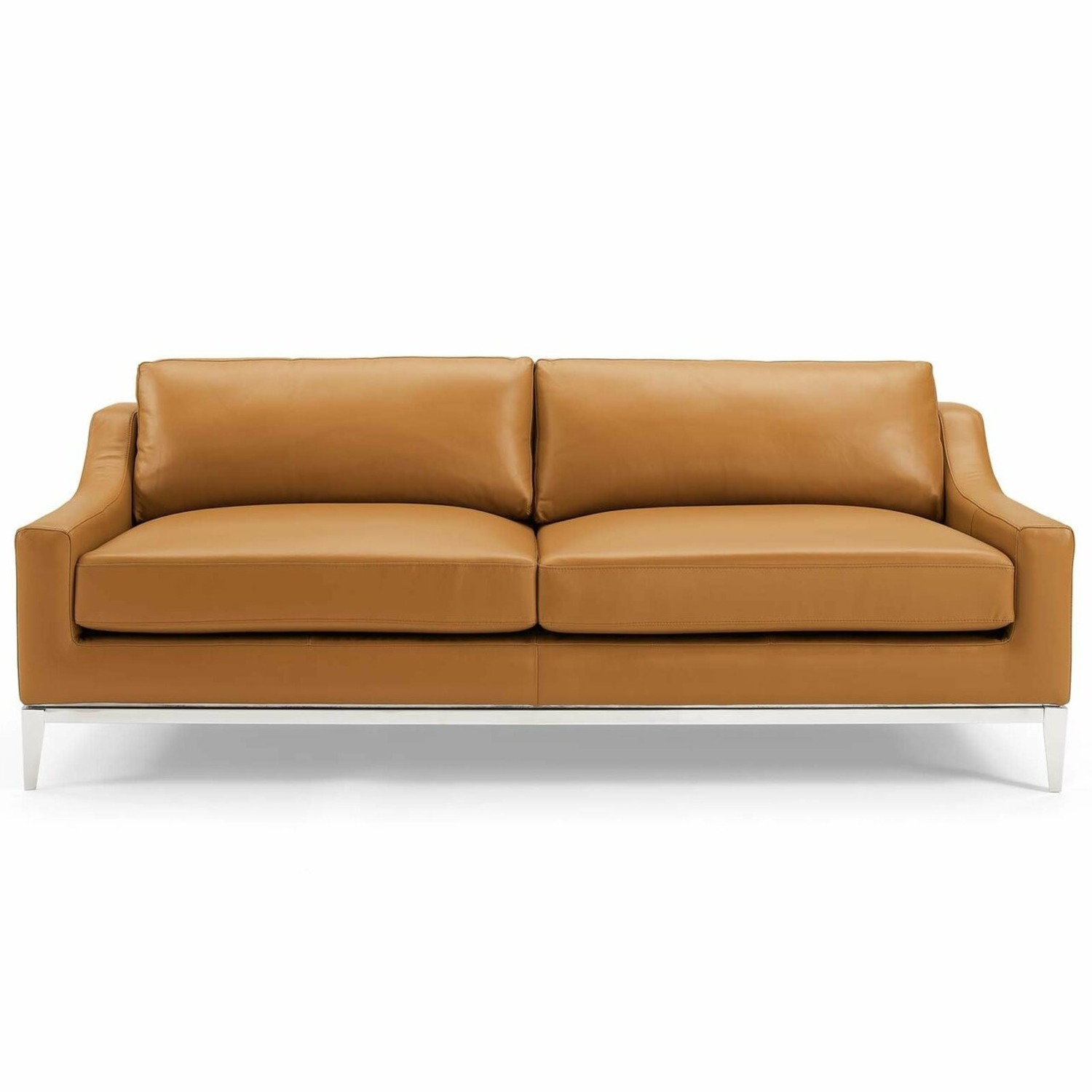 Sofa In Tan Leather Upholstery W/ Steel Base - image-1