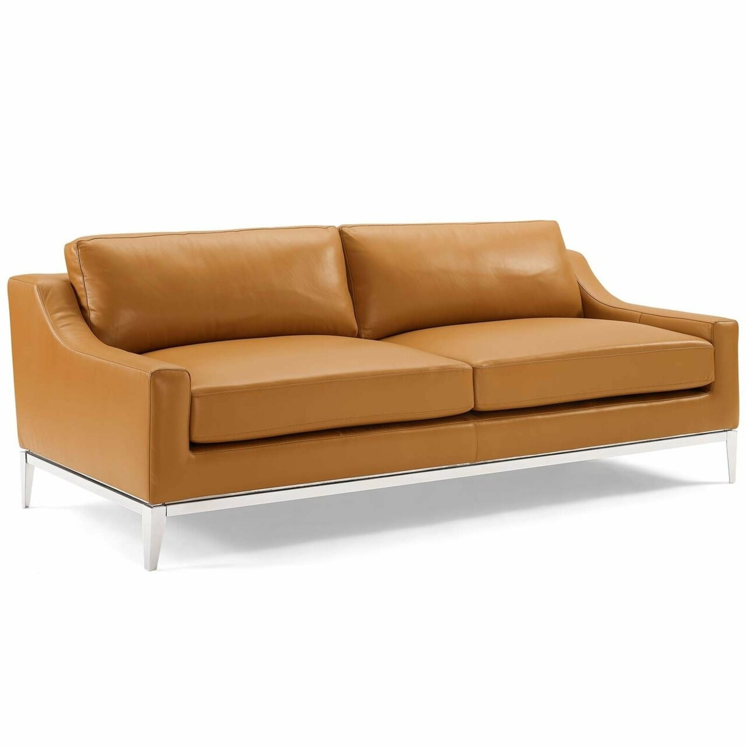 Sofa In Tan Leather Upholstery W/ Steel Base - image-0