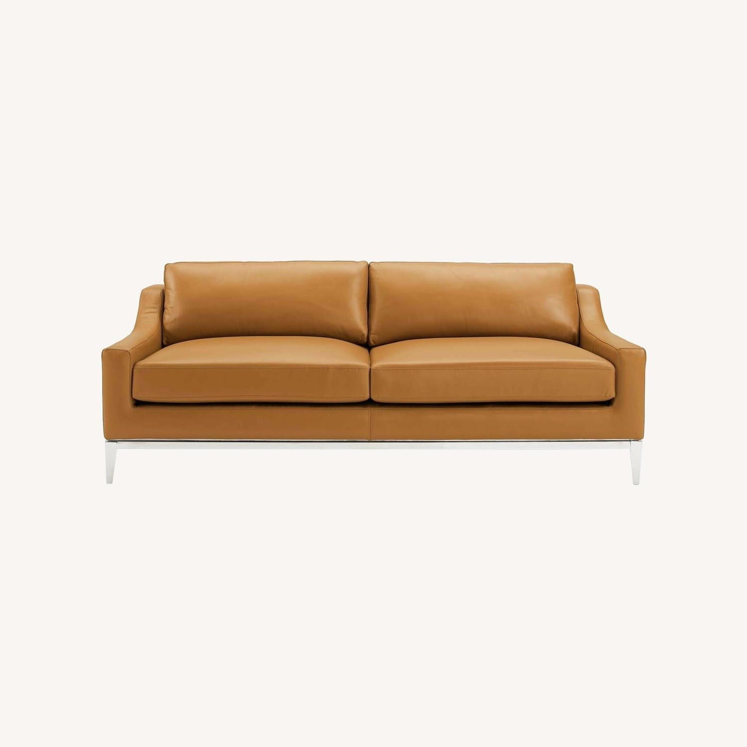 Sofa In Tan Leather Upholstery W/ Steel Base - image-9
