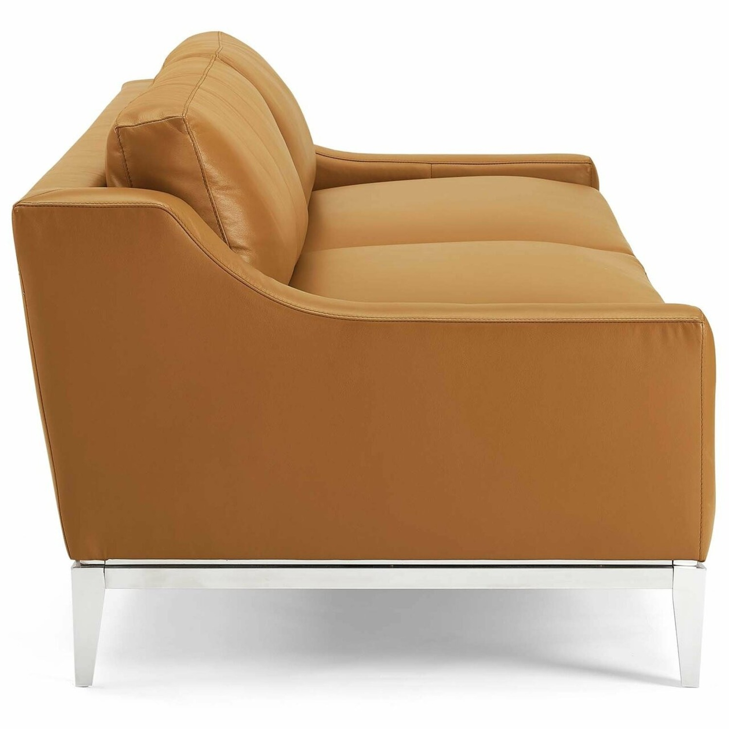 Sofa In Tan Leather Upholstery W/ Steel Base - image-3