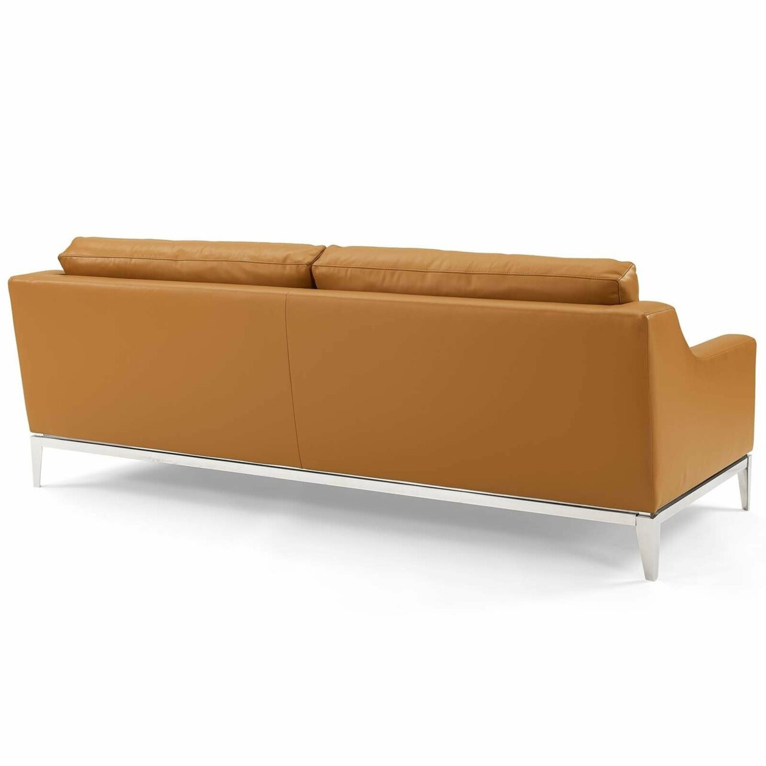 Sofa In Tan Leather Upholstery W/ Steel Base - image-2