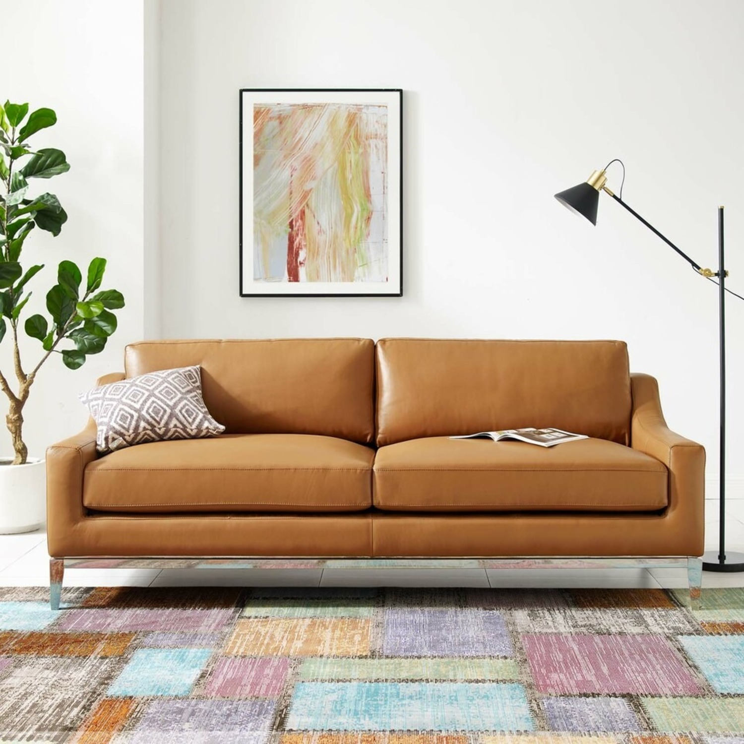 Sofa In Tan Leather Upholstery W/ Steel Base - image-7