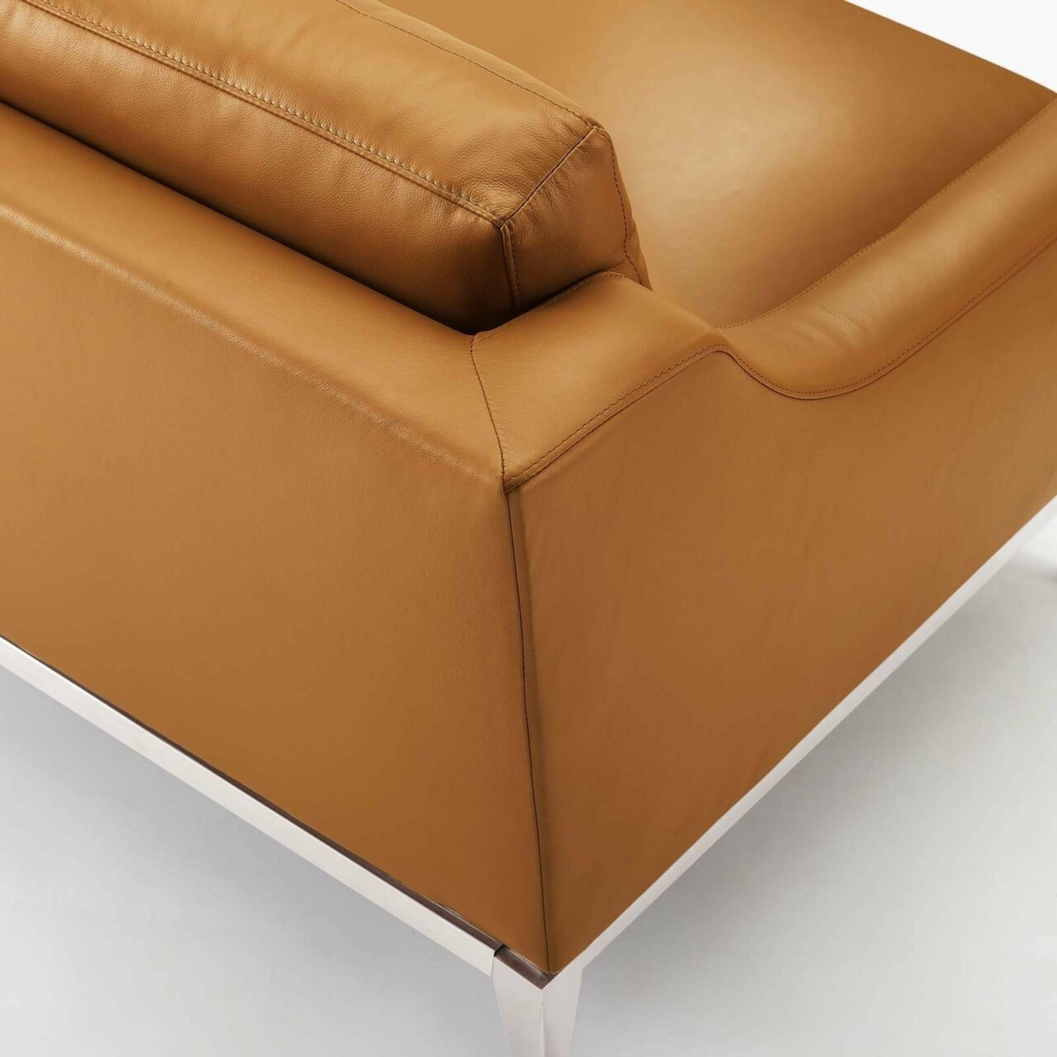 Sofa In Tan Leather Upholstery W/ Steel Base - image-6