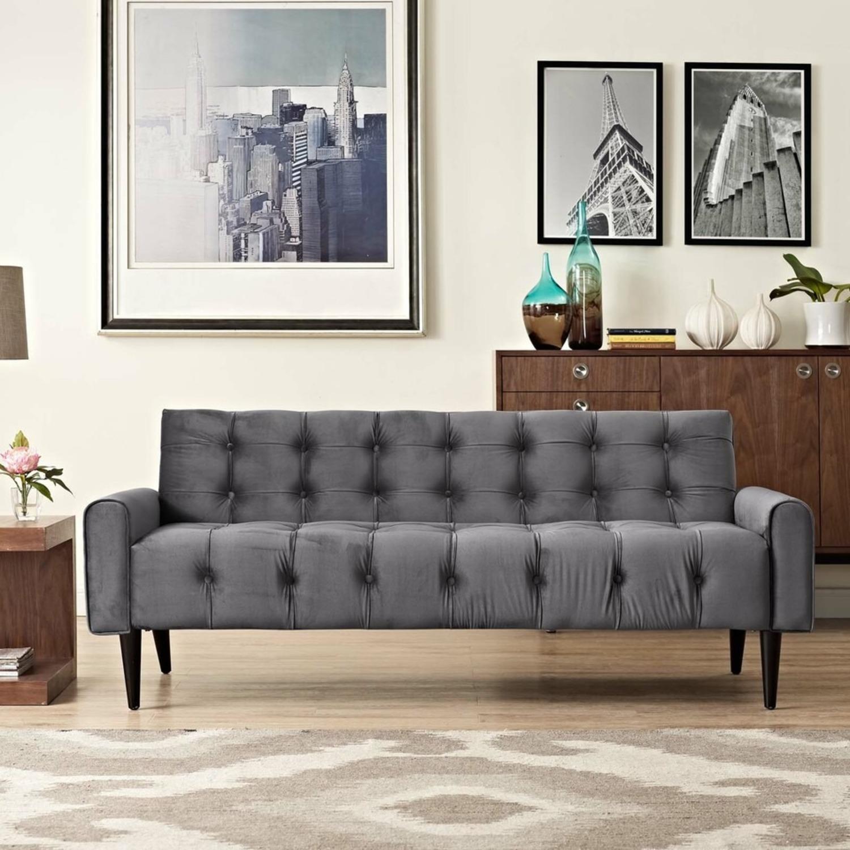 Sofa In Gray Velvet Performance Upholstery - image-3
