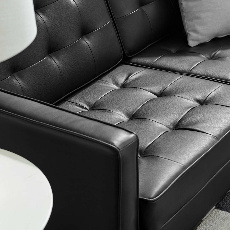 Modern Loveseat In Silver Black Faux Leather - image-3