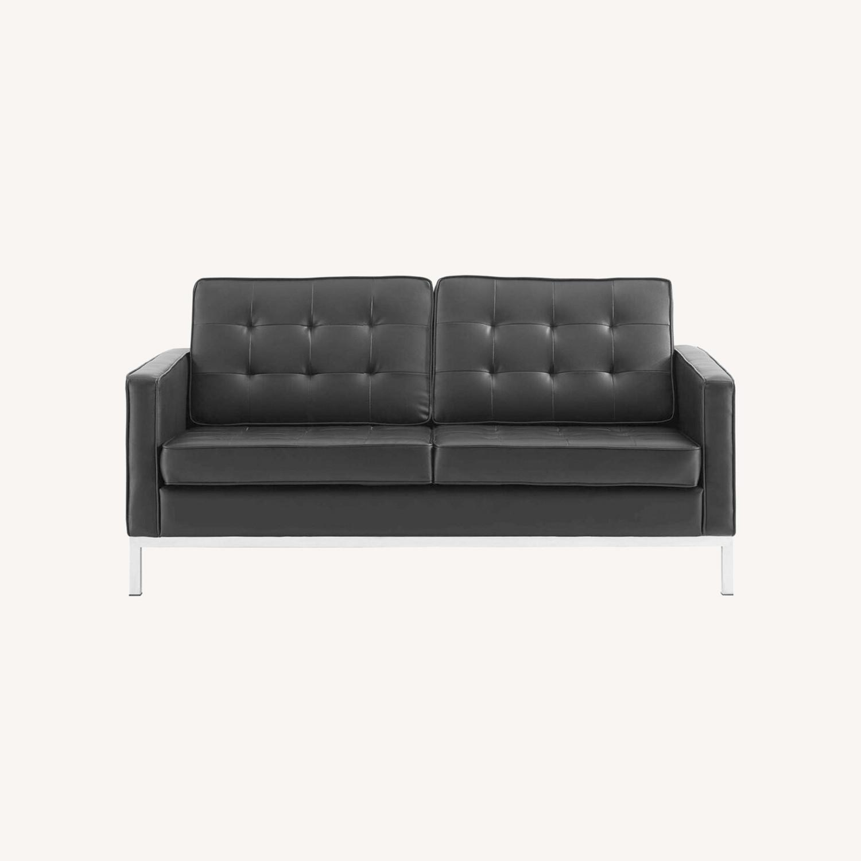 Modern Loveseat In Silver Black Faux Leather - image-6