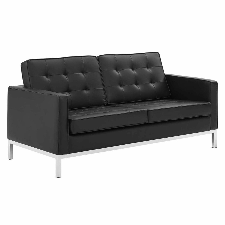 Modern Loveseat In Silver Black Faux Leather - image-0