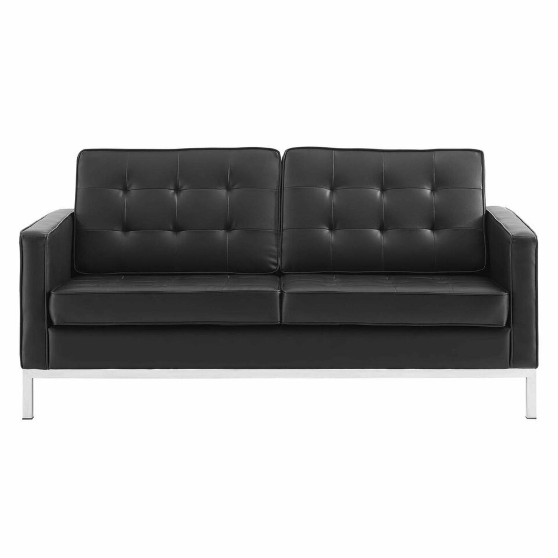 Modern Loveseat In Silver Black Faux Leather - image-1