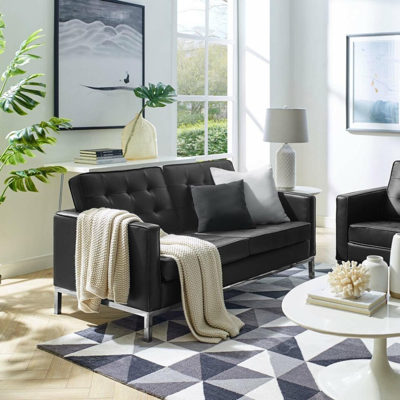 Modern Loveseat In Silver Black Faux Leather - image-4